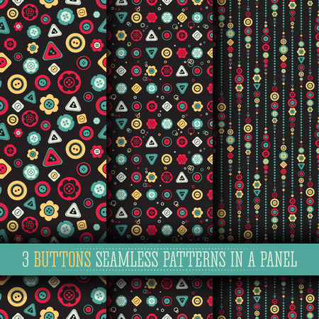3 Bright buttons seamless pattern collection on a dark background. Cute design, modern colors for greeting cards, scrapbooks, textile.