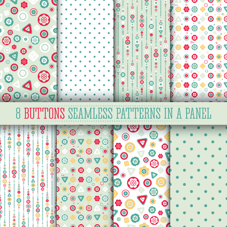8 Bright buttons seamless pattern collection. Cute design, modern colors for greeting cards, scrapbooks, textile.