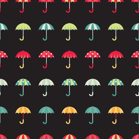Cute regular seamless pattern with colorful umbrellas. Vector illustration on dark background. Ilustração