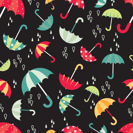textille: Colorful bright umbrellas seamless pattern modern design with water drops. Vector illustration on dark background.