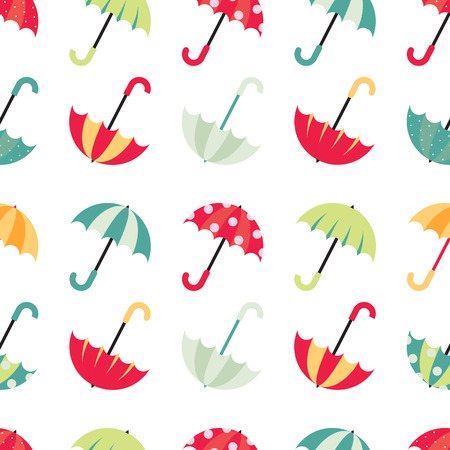 Cute seamless pattern with colorful umbrellas. Vector illustration on white background. Ilustração