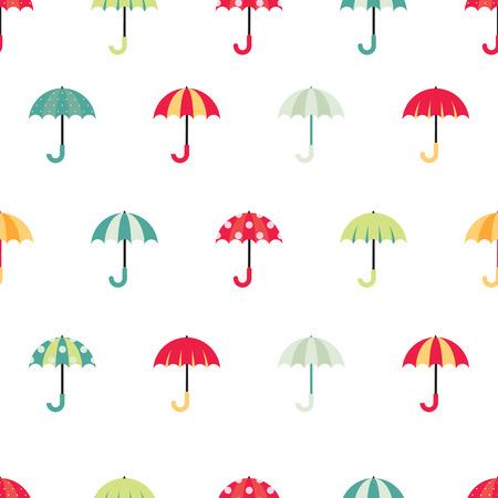 Cute regular seamless pattern with colorful umbrellas. Vector illustration on white background. Ilustração