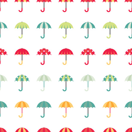 textille: Cute regular seamless pattern with colorful umbrellas. Vector illustration on white background. Illustration