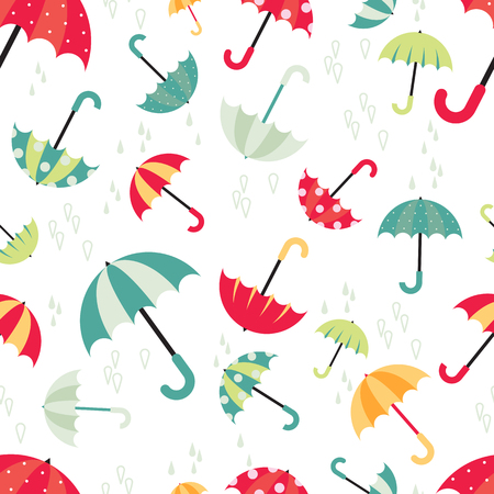 Colorful bright umbrellas seamless pattern modern design with water drops. Vector illustration on white background. Ilustração