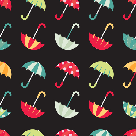 Cute seamless pattern with colorful umbrellas. Vector illustration on dark background.