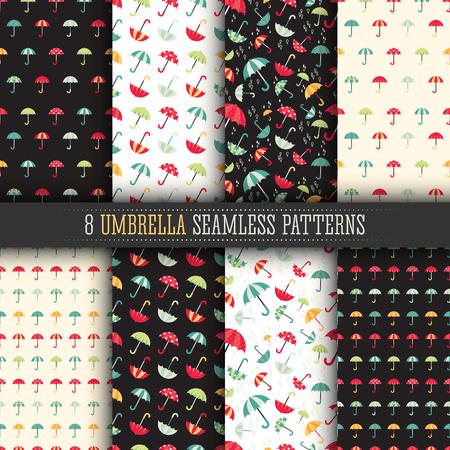 8 Colorful bright umbrellas seamless patterns modern design with water drops. Ilustração