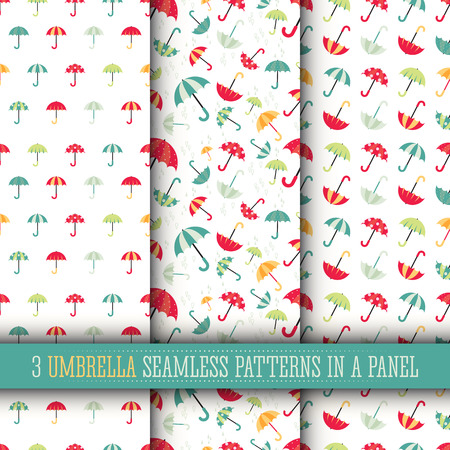 textille: 3 Colorful bright umbrellas seamless patterns modern design with water drops.