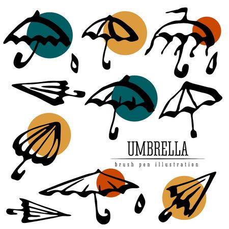 Umbrella collection design element isolated. Vector brush pen illustration.