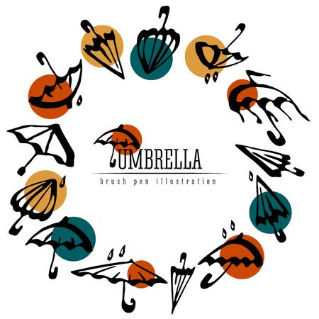 Umbrellas round frame modern design. Vector illustration isolated. Ilustração