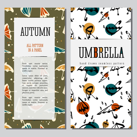 textille: Umbrellas seamless pattern hand drawn illustration. Vector cards desigh template with text.