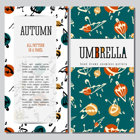 Umbrellas seamless pattern hand drawn illustration. Vector cards desigh template with text.
