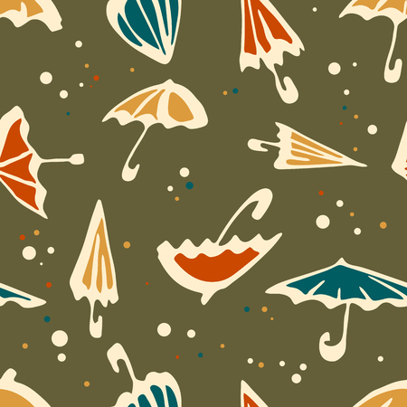 Umbrella seamless pattern. Colorful autumn background umbrella vector with dots and points.