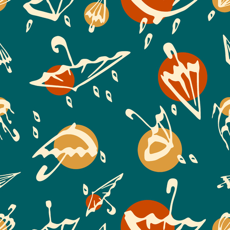 Umbrella seamless pattern. Modern color autumn vector background illustration.