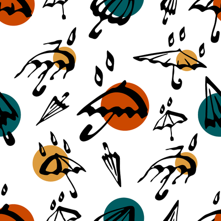 Umbrella seamless pattern. White autumn vector background illustration with water drops. Textile and wallpaper. Ilustração