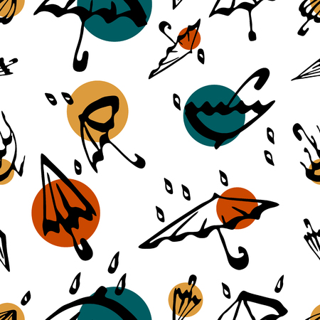 Umbrella seamless pattern. White autumn vector background illustration with water drops. Textile and wallpaper. Illustration