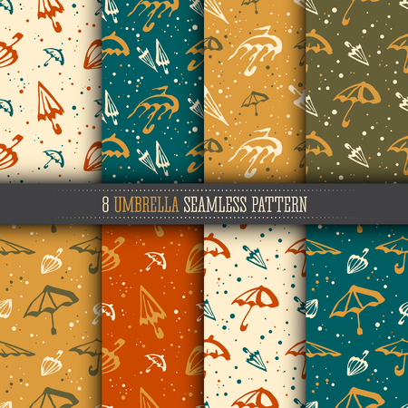 Umbrellas simple seamless pattern collection. Bright color templates set for design textile and wallpapers.