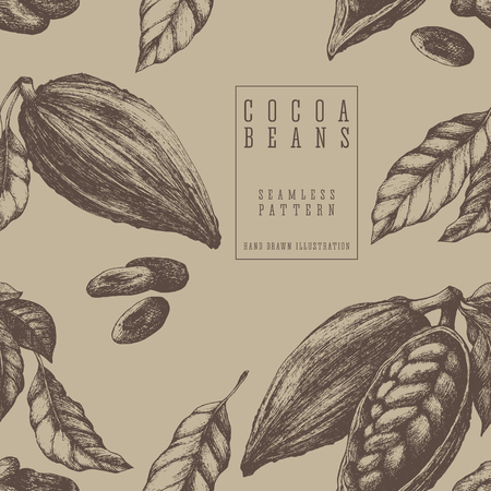 Cocoa seamless pattern, retro style sketch vector illustration. Colonial goods. Eco packaging for chocolate design.
