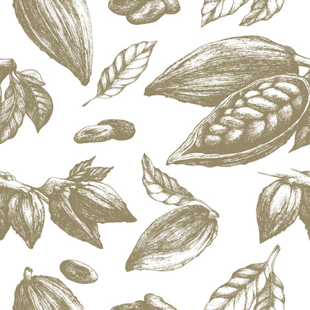 Cocoa seamless pattern, retro style sketch vector illustration. Colonial goods. Eco packaging background, colonial goods.