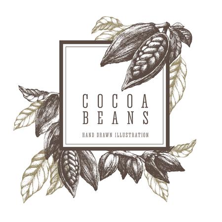 Cacao en grano y rama. Ilustración de esbozo de plantilla de marco cuadrado. Elementos de diseño vectorial dibujado a mano ilustraciones.