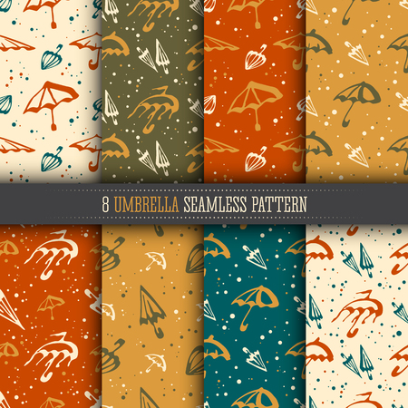 textille: Umbrellas simple seamless pattern collection. Bright color templates set for design textile and wallpapers.