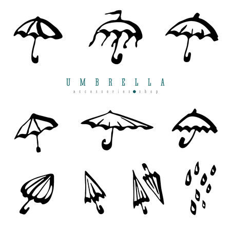 Umbrella collection design element. Simple hand drawn vector brush pen illustration isolated on white background. Ilustração