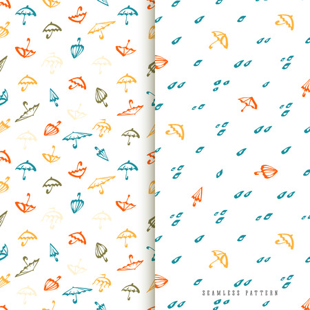 Umbrella seamless pattern set. Cute color templates collection with umbrellas and water drops for design textile and wallpapers. Illustration