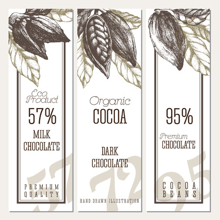 Chocolate vertical banners set with open cocoa pods and branches. Vector template sketch style design. Isolated illustrations.