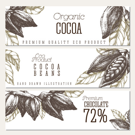 Chocolate horizontal banners set with open cocoa pods and branches. Vector template sketch style design. Isolated illustrations.