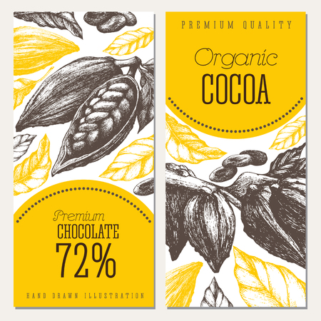 Cocoa bean tree banner collection vector hand drawn artwork. Design templates in engraved style illustration. Chocolate cocoa beans. Ilustração