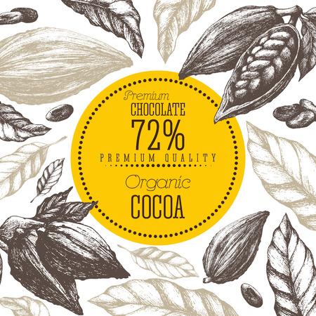 Cocoa products vector illustration frame Vintage elements isolated Ilustração