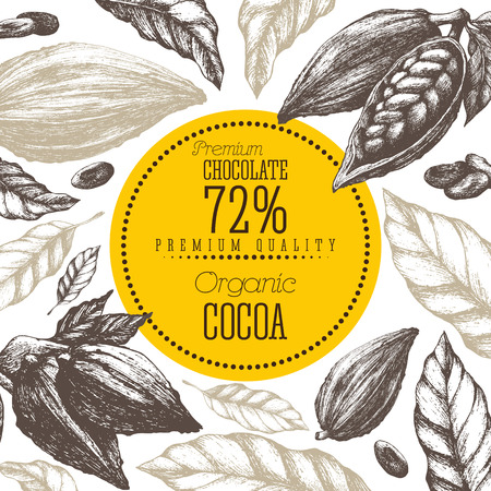 Cocoa products vector illustration frame Vintage elements isolated Illustration