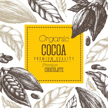 Chocolade cacao producten vector illustratie met bladeren en peulen Stock Illustratie