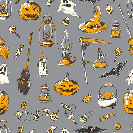 Halloween party seamless pattern, vector hand drawn element. Sketch design, isolated. Ilustração