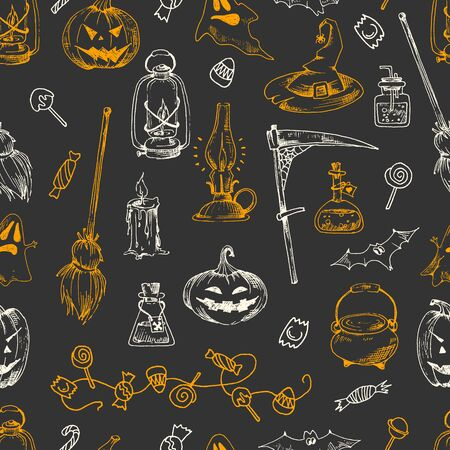 Halloween party seamless pattern, vector hand drawn element. Sketch design, isolated. Illustration