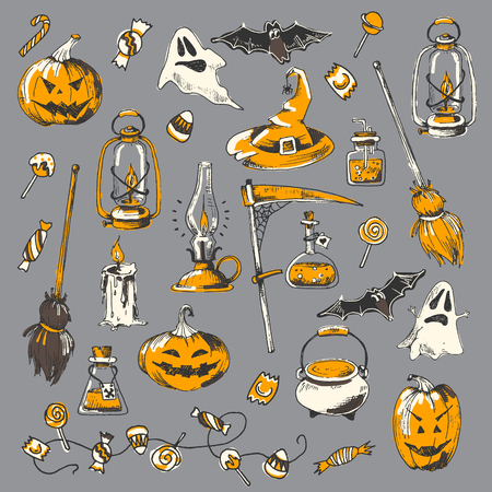 Halloween party collection, vector hand drawn element. Sketch design, isolated.