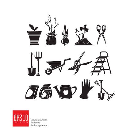 Gardening icon set. Garden tools isolated picture, detailed design, growing plant, spring