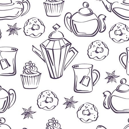Isolated vector sketch of seamless pattern with donuts, badyan, cupcakes, teapots and mugs Illustration