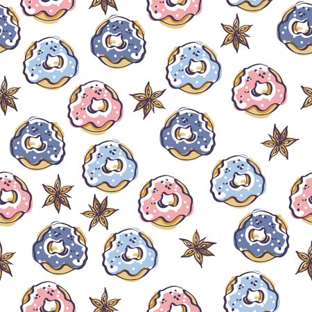 Isolated vector color sketch of seamless pattern with donuts and badyan