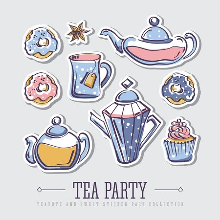 Set of isolated vector color sketches of donuts, badyan, cupcake, teapots and mug on dark background