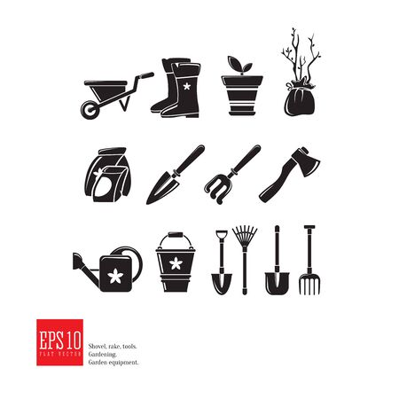 Gardening icon set. Isolated garden equipment vector picture on white background, detailed design, growing plant, spring