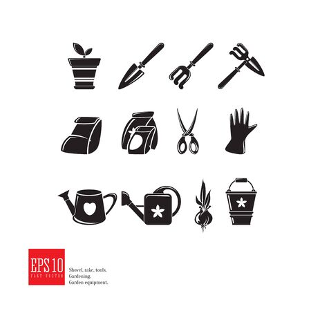 Gardening web icon set. Isolated garden equipment picture, detailed design, growing plant, spring Illustration