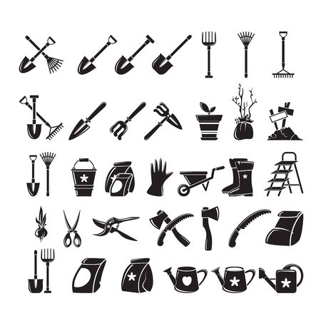 Gardening icon bit set. Isolated garden equipment picture, detailed design, growing tools Illustration
