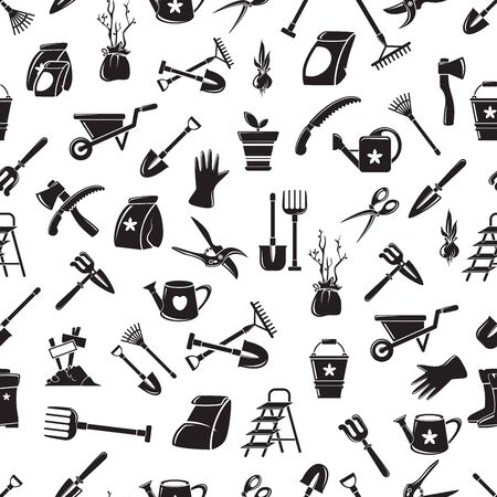 Gardening equipment vector seamless pattern. Isolated garden tools picture, detailed design, growing plant, spring
