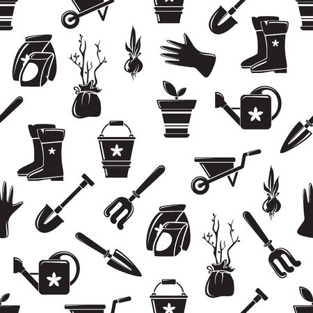 Gardening equipment vector seamless pattern. Isolated garden eqipment picture, detailed design, growing plant, spring