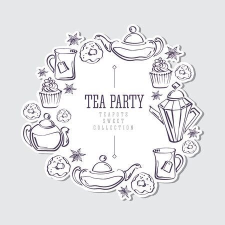 Isolated vector sketch of round sticker with wreath made of donuts, badyan, cupcakes, teapots and mugs