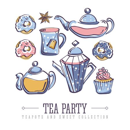 Set of isolated vector color sketches of donuts, badyan, cupcake, teapots and mug Illustration