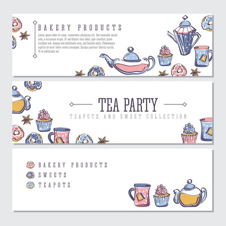 Set of labels with isolated vector color sketch of donuts, badyan, cupcakes, teapots and mugs Illustration