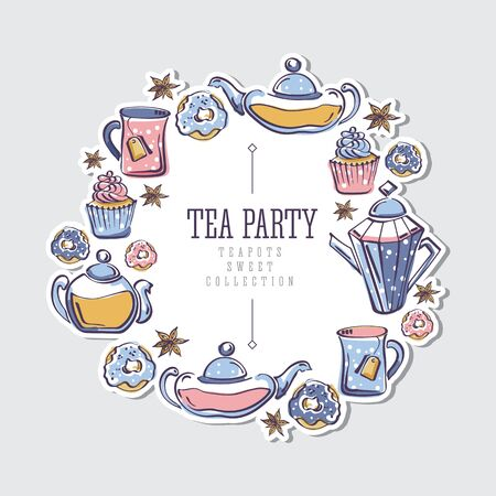 Isolated vector color sketch of round sticker with wreath made of donuts, badyan, cupcakes, teapots and mugs