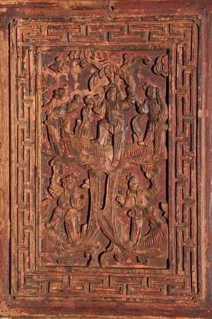 woodblock: Antique Carved Chinese Panel