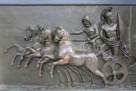 chariot: Achillion Palace Bronze Relief Stock Photo